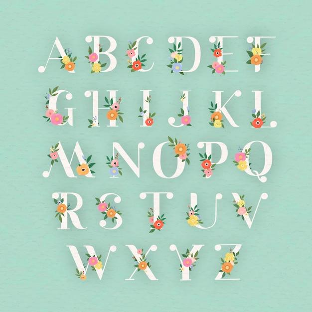 Conjunto de letras do alfabeto floral elegante