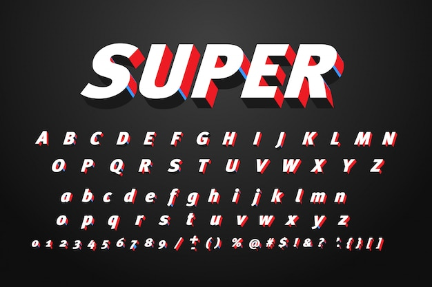 Conjunto de letras do alfabeto super
