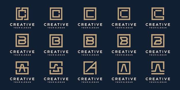 Conjunto de letras do logotipo a, b e c com estilo quadrado. modelo