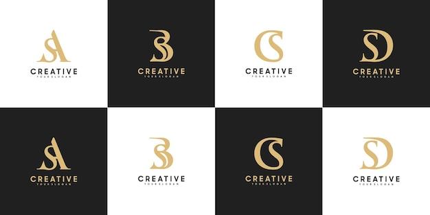 Conjunto de letras do logotipo inicial sa - sd, referência para seu logotipo de luxo