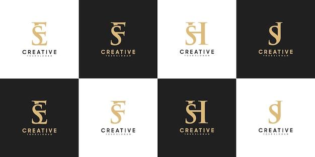 Conjunto de letras do logotipo inicial se - sj, referência para seu logotipo de luxo