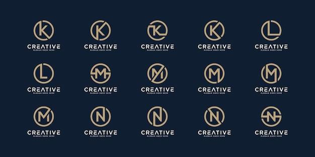 Conjunto de letras do logotipo k, l, me n com estilo de círculo. modelo