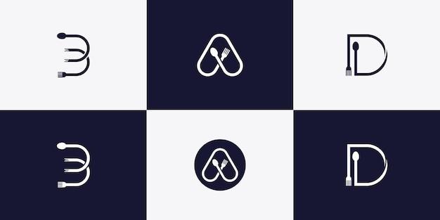 Conjunto de letras do monograma a, b e d com conceito de colher e garfo