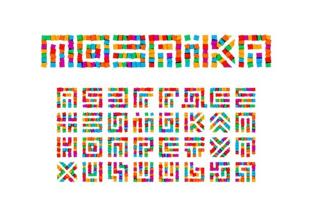 Conjunto de letras do mosaico. alfabeto ucraniano de vetor de estilo adesivos coloridos. fonte para eventos, promoções, logotipos, banner, monograma e pôster. design de tipografia