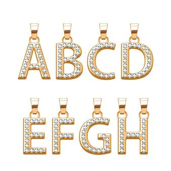 Conjunto de letras douradas com pingentes abc de gemas de diamantes. ilustração. bom para joias.