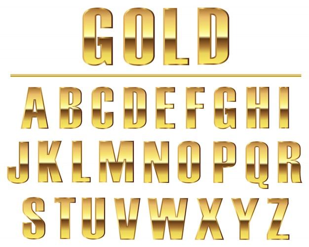 Conjunto de letras douradas