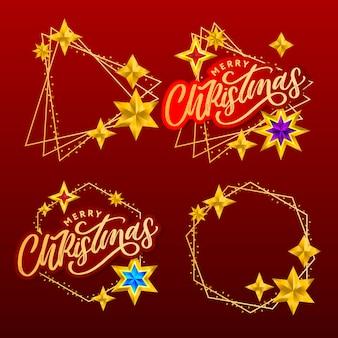 Conjunto de letras e estrelas de feliz natal desenhada à mão