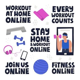 Conjunto de letras e ilustrações de fitness conceito de treino online