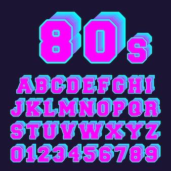 Conjunto de letras e números antigo jogo de vídeo estilo anos 80