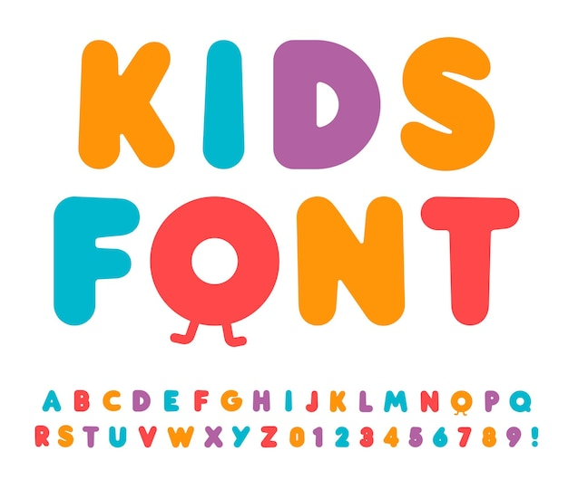 Conjunto de letras e números de crianças. alfabeto de estilo negrito dos desenhos animados. fonte infantil para eventos, promoções, logotipos, banner, monograma e pôster. design de tipografia vetorial.