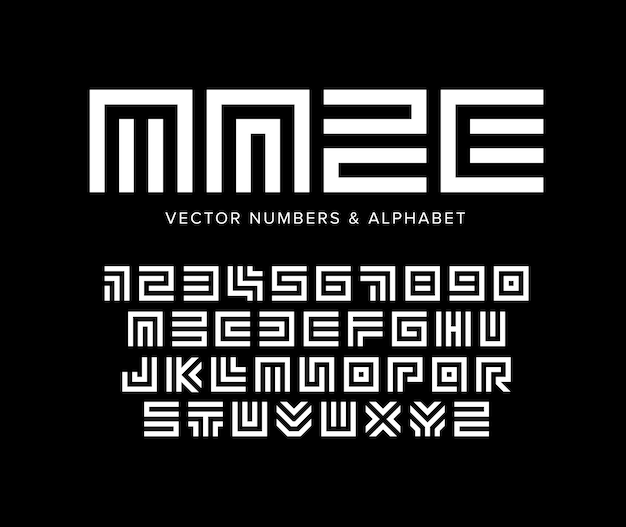 Conjunto de letras e números de vetores geométricos, modelo de logotipo labirinto de alfabeto branco sobre fundo preto