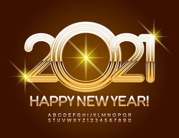Conjunto de letras e números do alfabeto de luxo de fontes douradas de feliz ano 2021