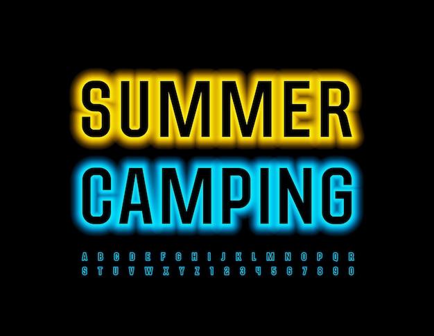 Conjunto de letras e números do alfabeto de néon da fonte azul brilhante do summer campnig