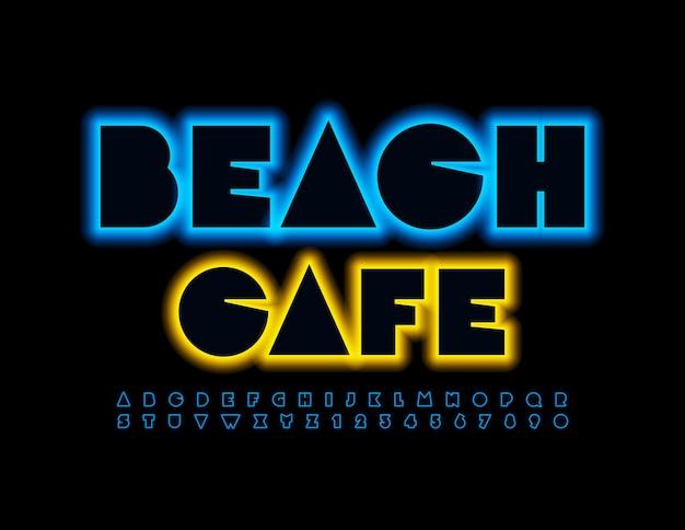 Conjunto de letras e números do alfabeto de néon da fonte brilhante do beach cafe