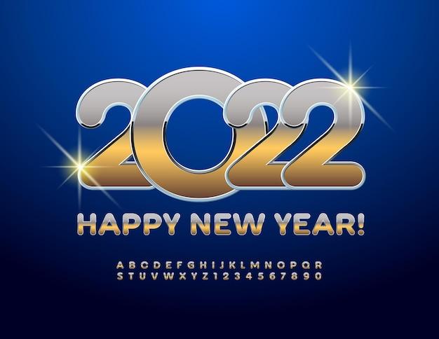 Conjunto de letras e números do alfabeto de ouro e prata do vetor cartão feliz ano novo