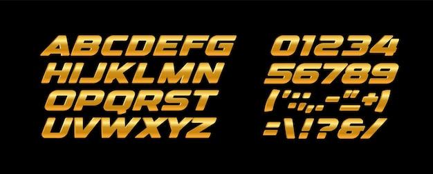 Conjunto de letras e números em negrito premium. textura dourada, cor amarela e laranja, alfabeto latino de vetor de estilo de metal dourado. design de tipografia.