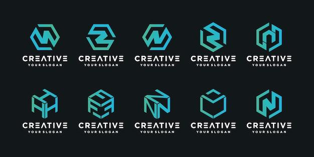 Conjunto de letras iniciais abstratas com logotipos do monograma feitos de cubos