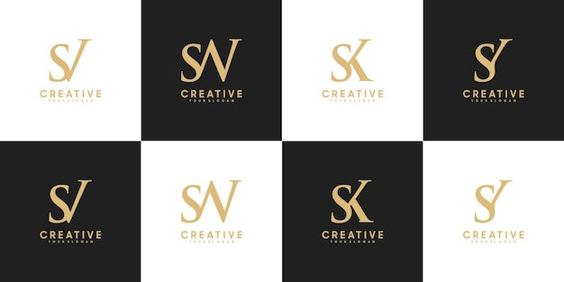 Conjunto de letras iniciais de logotipo sv - sy, referência para seu logotipo de luxo