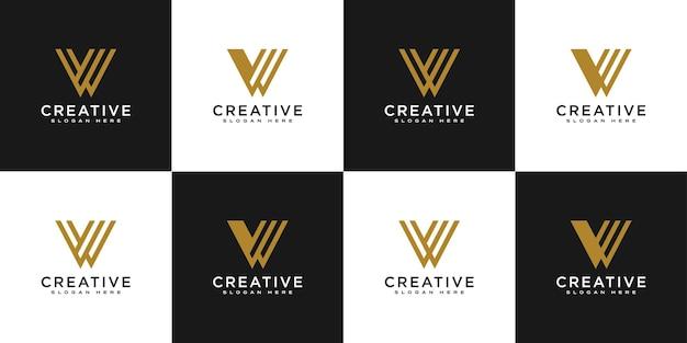 Conjunto de letras iniciais w logo desenho vetorial
