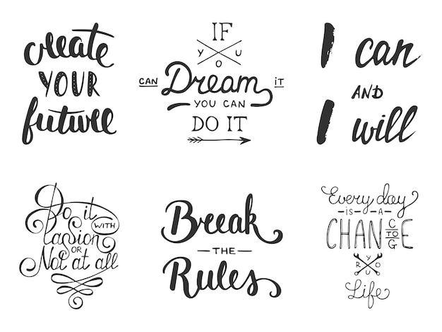 Conjunto de letras inspiradoras e motivacional