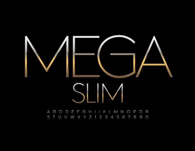 Conjunto de letras mega slim alphabet elegante fonte metálica prata e ouro letras e números