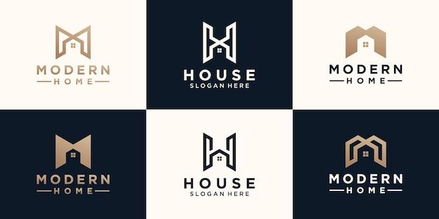 Conjunto de letras minimalistas abstratas mh com design de logotipo para casa