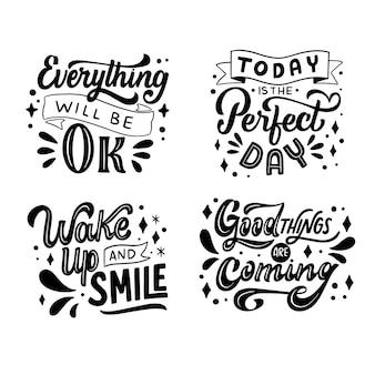 Conjunto de letras motivacionais