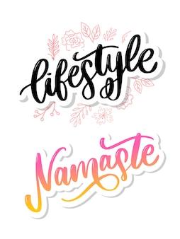 Conjunto de letras namaste e estilo de vida