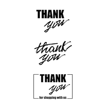 Conjunto de letras obrigado. ilustração do vetor.