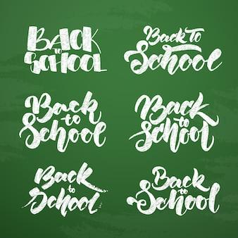 Conjunto de letras texturizadas desenhadas à mão no fundo do quadro-negro