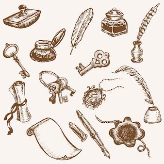 Conjunto de letras vintage de elementos vintage desenhados à mão