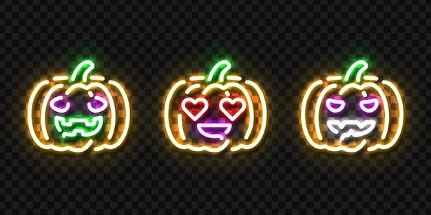 Conjunto de letreiro de néon isolado realista do logotipo da abóbora