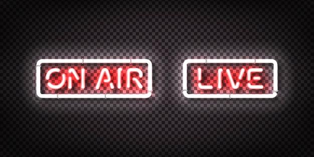 Conjunto de letreiro de néon realista de live e on air
