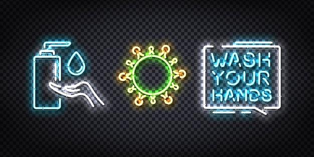 Conjunto de letreiro de néon realista do logotipo da sanitizer