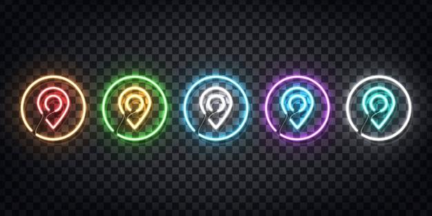 Conjunto de letreiro de néon realista do logotipo do map pin para decoração e cobertura no fundo transparente. conceito de entrega, logística e transporte.