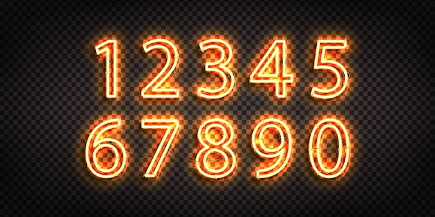 Conjunto de letreiro de néon realista do logotipo do numbers