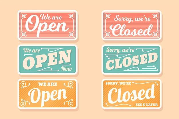 Conjunto de letreiro vintage aberto e fechado