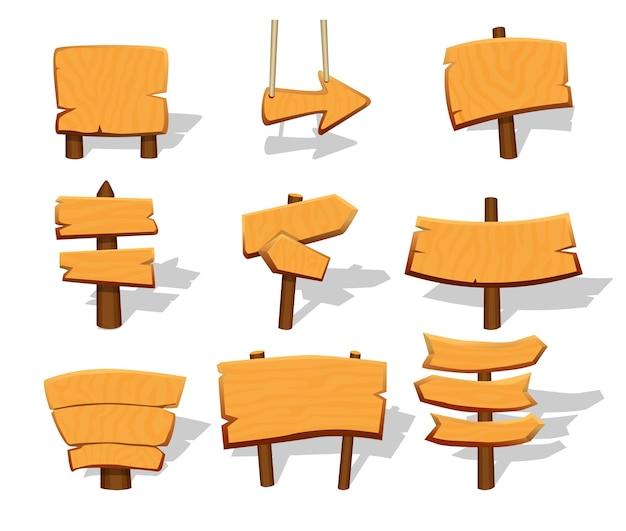 Conjunto de letreiros de madeira em branco