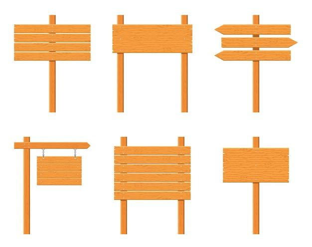 Conjunto de letreiros de madeira isolado no fundo branco. sinais e símbolos para comunicar uma mensagem na rua ou na estrada, emblemas de sinalização. modelo de banner com textura de madeira.