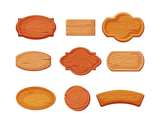 Conjunto de letreiros de madeira