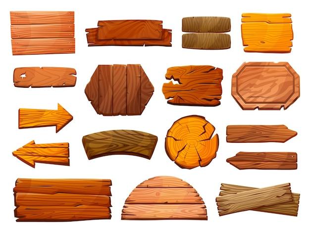 Conjunto de letreiros de pilares de madeira