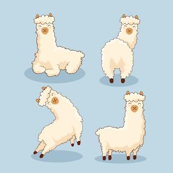 Conjunto de lhama de alpaca dos desenhos animados