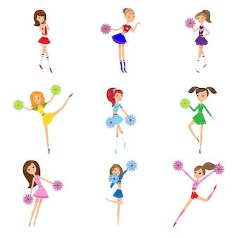 Conjunto de líderes de torcida de meninas com ilustração de pompons