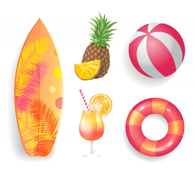 Conjunto de lifebuoy de temporada de verão