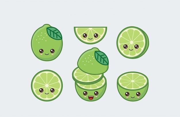 Conjunto de limão desenhado rostos de comida kawaii bonito