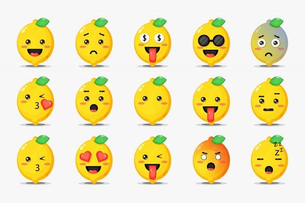 Conjunto de limão fofo com emoticons