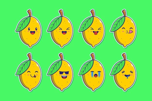 Conjunto de limão mascote emoji.
