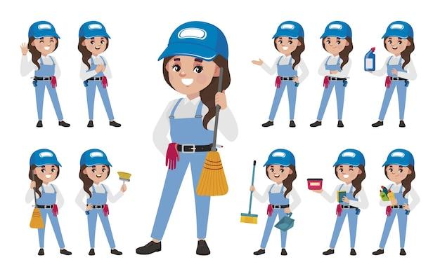 Conjunto de limpador com diferentes poses