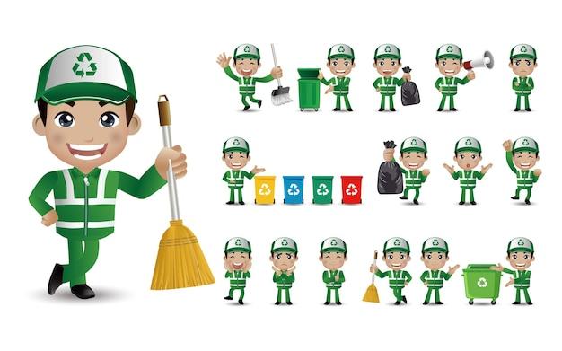 Conjunto de limpador de rua com diferentes poses