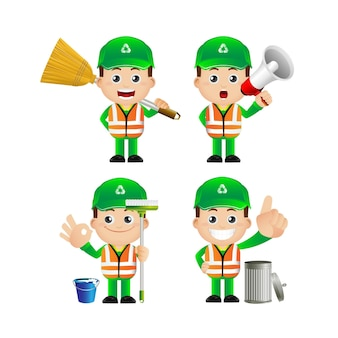 Conjunto de limpador de rua